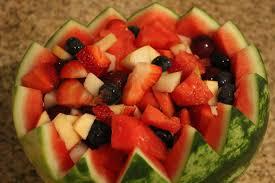 watermelon fruit salad bowl. Delighful Watermelon Fruit Salad In A Watermelon Bowl And