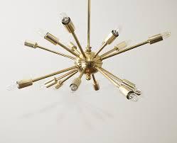 sputnik mid century modern chandelier in brass