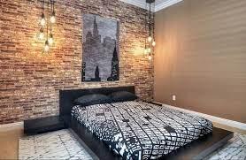brick wallpaper bedroom
