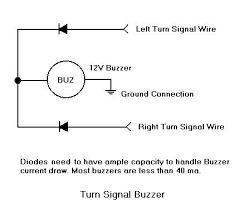 turn signal buzzer diagram when one side of the turn signals light 12v is available to the buzzer the diodes are to prevent a cross connection between blinker circuits