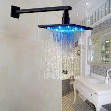 led color 10 inch overhead rainfall shower head with wall mount shower arm oil rubbed bronze led street light 60w led night led with 102 06 piece on