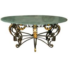 Antique Round Kitchen Table Art Nouveau Style Crackle Glass Round Dining Table At 1stdibs