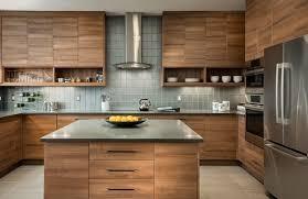 kitchen counter cabinet. Kitchen, Modern Contemporary Kitchen Cabinet Design Smooth Wooden Floorboard Black Granite Countertop Brick Tile Flooring Counter U