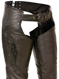milwaukee women s leather chaps wing embroidery rivet details