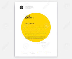 Creative Letterhead Template Design Yellow Cover Letter Vector