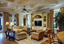 Traditional Living Room With Crown Molding, Box Ceiling, Built In  Bookshelf, Hardwood