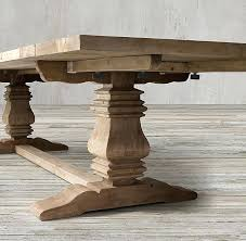 salvaged wood weathered concrete trestle round dining table rectangular extension reviews reclaimed