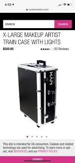 new and new and nyx x large makeup artist train case w lights