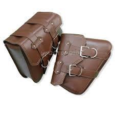 2x brown motorcycle pu leather saddlebags side saddle bags fit harley sportster 2 2 of 10