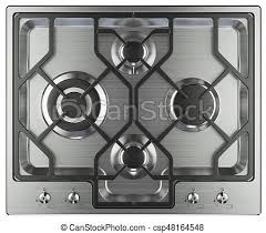 Kitchen stove top view isolated on white background 3d