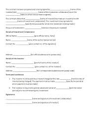 Investment Agreement Template Investment Agreement Sample Simple