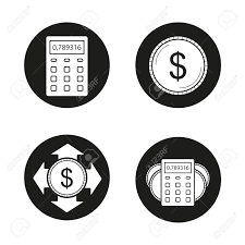 Banking And Financial Planning Icons Set Calculator Us Dollar