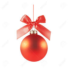a red matted glass christmas ornament handing from a red bow and ribbon  (isolated on