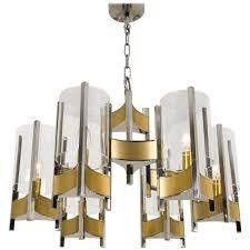 nine light chrome glass chandelier by gaetano sciolari 1960s