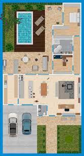 Através de sua configuração, é criado um espaço de lazer com área para churrasqueira, piscina e jardim. Casa 2 Quartos Piscina Garagem Em L Plantas De Casas Plantas De Casa Com Piscina Projetos De Casas Simples