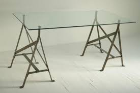 iron trestles with glass top dining table 9