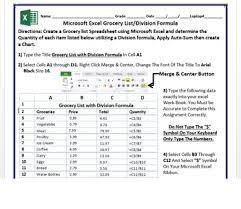 Microsoft Excel 2013 Activity Grocery List Utilizing Division Formula
