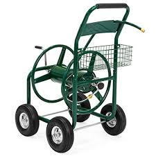 best choice s 300ft water hose reel cart w basket for outdoor garden heavy duty yard water planting green