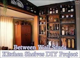 between wall studs kitchen shelves diy project the homestead survival rh thehomesteadsurvival com building shelves between
