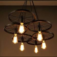 vintage industrial lighting s loft metal wheel pendant light