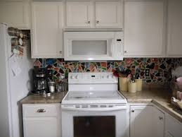 Paint Kitchen Cupboards White Charming Colorful Recycled Mosaic Ceramic Backsplash Also Cool