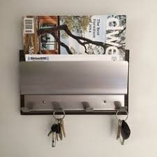 mirror key holder for wall. new magnetic industrial modern espresso wood stainless steel magazine rack mail holder ipad iphone coat key wall home organization mirror for