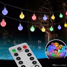 remote control 30 led outdoor string lights bubble beads 8 modes battery powered for trees new year party garden décor bulb string lights