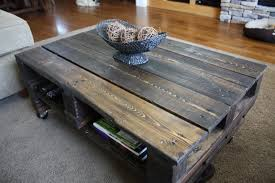 rustic coffee table with wheels design