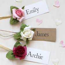 Wedding Name Paper Rose Wedding Name Tag Name Place Favour