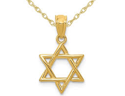14k yellow gold star of david pendant necklace with chain 0