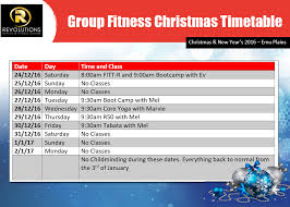 Group Fitness Christmas And New Years Timetable - Revolutions Health ...