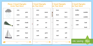 So far you can see we have a variety of sets of worksheets that deal with beginning sounds and rhyming and we are working on more. Vowel Digraphs Circle That Word Worksheet Phase 3 Phonics