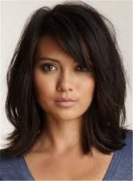 Loose Messy Lob Medium Wave Synthetic Hair With Bangs Capless Wigs ...