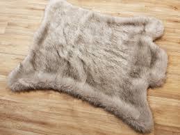 tissavel tundra wolf cream faux fur rug