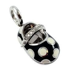 aaron basha enamel diamond gold baby shoe charm for