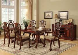 Warm Cherry Pedestal Dining Room Set for 8 84\