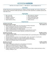 General Warehouse Worker Resume Samples No Experince Profesional