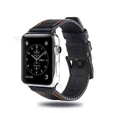 carbon fiber texture genuine leather watch band strap for apple watch series 4 44mm series