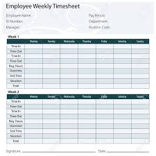 An Image Of A Employee Timesheet Template Royalty Free Cliparts