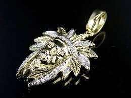 10k yellow gold diamond native american indian chief head pendant