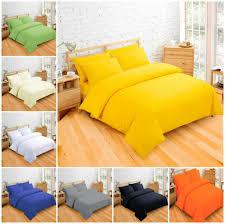 details about plain dyed duvet quilt cover bedding sets single double king black white blue