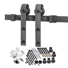 elegant in matte black steel top mount sliding barn door kit with diy barn door wheels