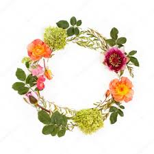 fl round crown wreath with flowers and leaves flat lay top view creative arrangement with pink and orange roses gray grefsheim spiraea cinerea
