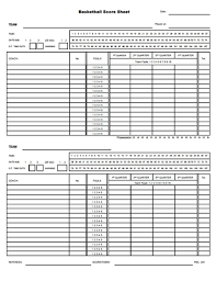 Basketball Score Sheets Basketball Score Sheet Free Download Create Edit Fill