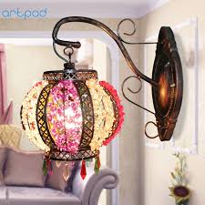 Y Artpad Nordic Style LED Indoor Wall Lamp Handmade Glass Lampshade  Mount Classic Chinese Lantern Light