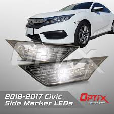 Front Side Marker Light Smoked Front Led Side Marker Light Side Marker Lamp Assembly Led Bulbs Included Compatible With 2016 2018 Honda Civic