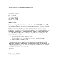 Sample Nursing Application Cover Letters Sample Cover Letter For A