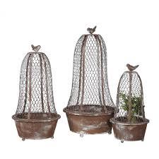 3r studios bird planters brown metal