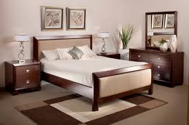 Double Bed Classic Solid Wood With Upholstered Headboard And Fabric