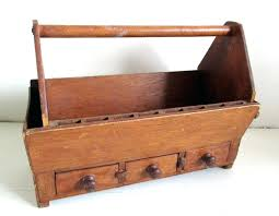 handmade wooden tool box with several compartments and drawers chest antique uk